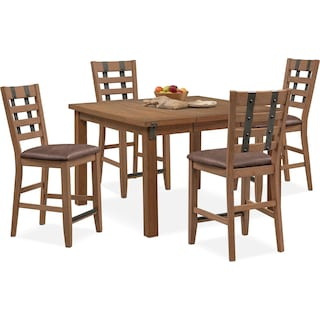 Hampton Counter-Height Dining Table and 4 Stools - Sandstone