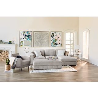 Terry 2-Piece Sectional with Ottoman Package