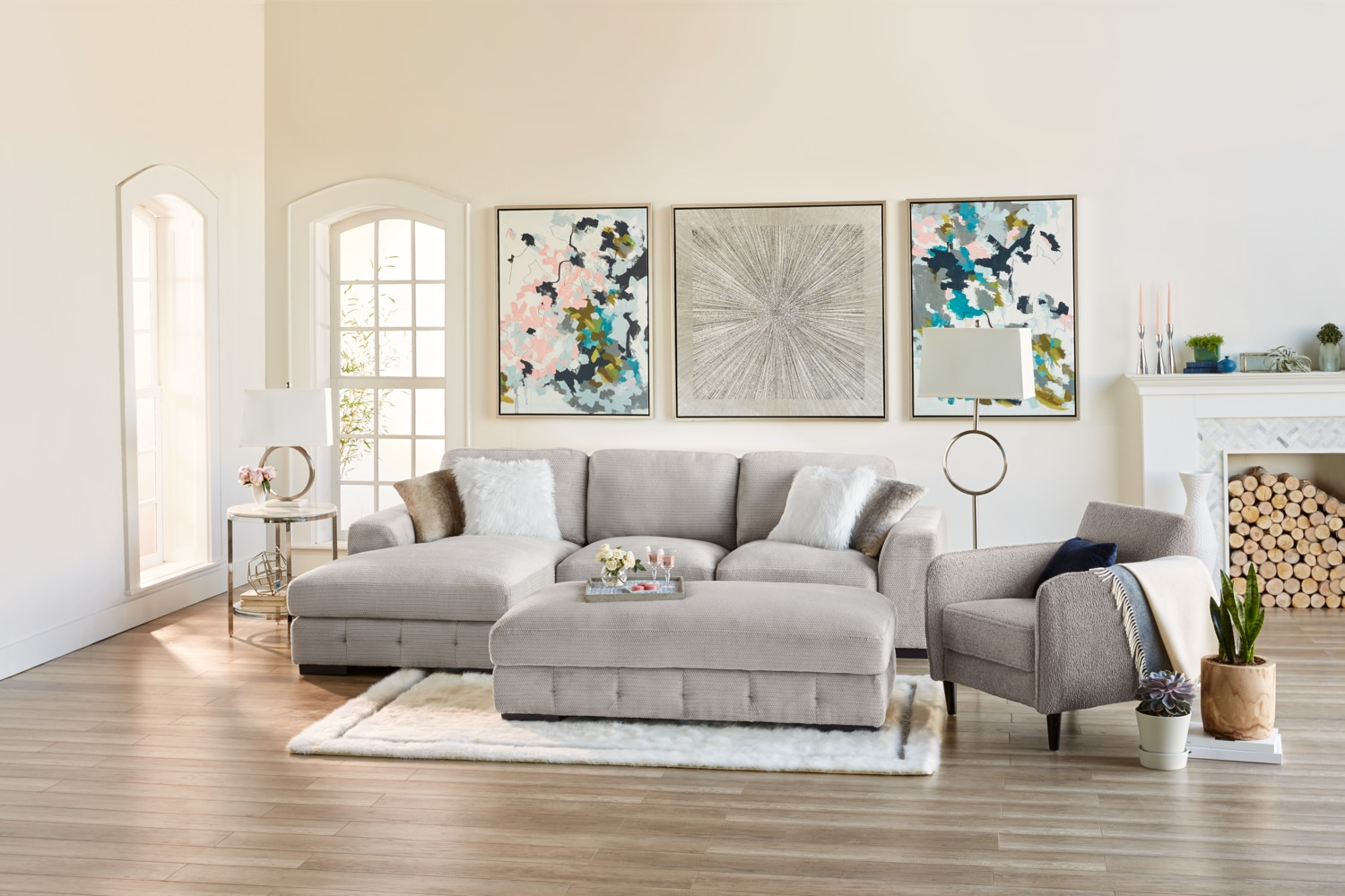 Terry 2 Piece Sectional With Chaise And Accent Chair