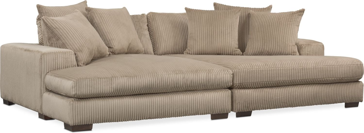 lounge 2 piece sectional with double chaise beige value city rh valuecityfurniture com sofa with double chaise lounge double reclining sofa with chaise