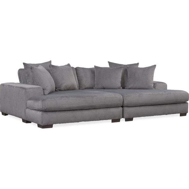 Lounge 2-Piece Sectional With Double Chaise - Gray