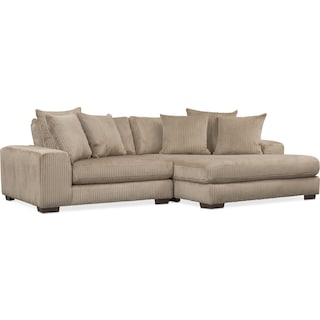 Lounge 2-Piece Sectional with Right-Facing Chaise - Beige