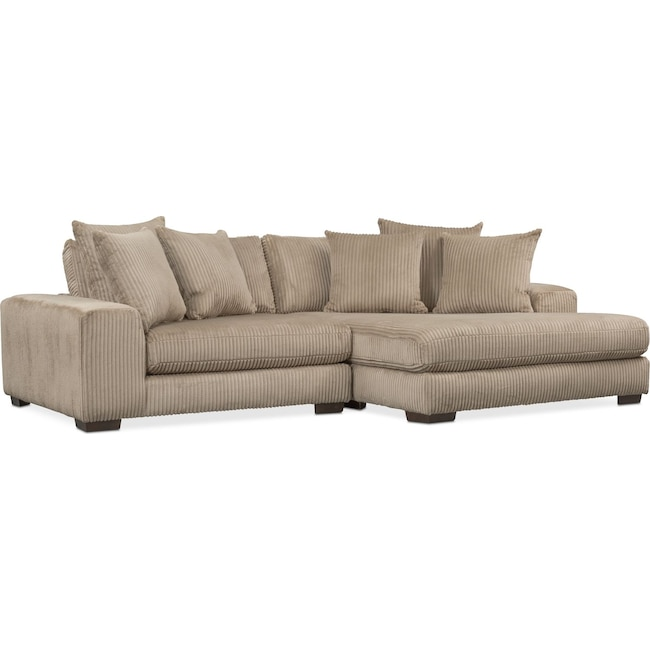 Lounge 2 Piece Sectional with Right Facing Chaise Beige