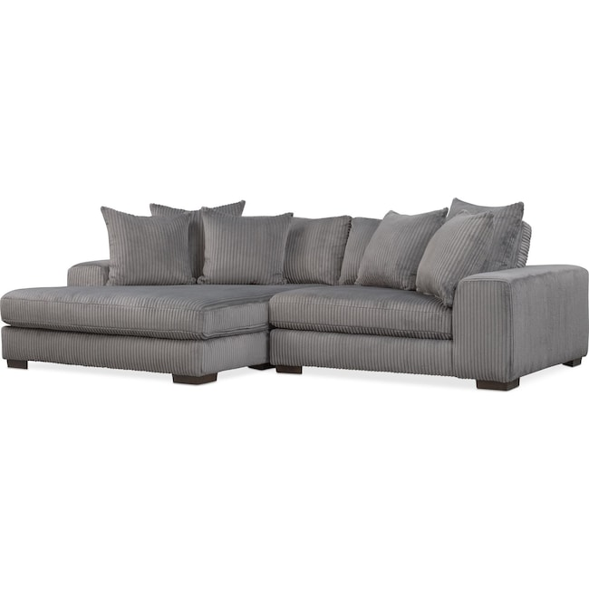 Living Room Furniture - Lounge 2-Piece Sectional with Left-Facing Chaise - Gray