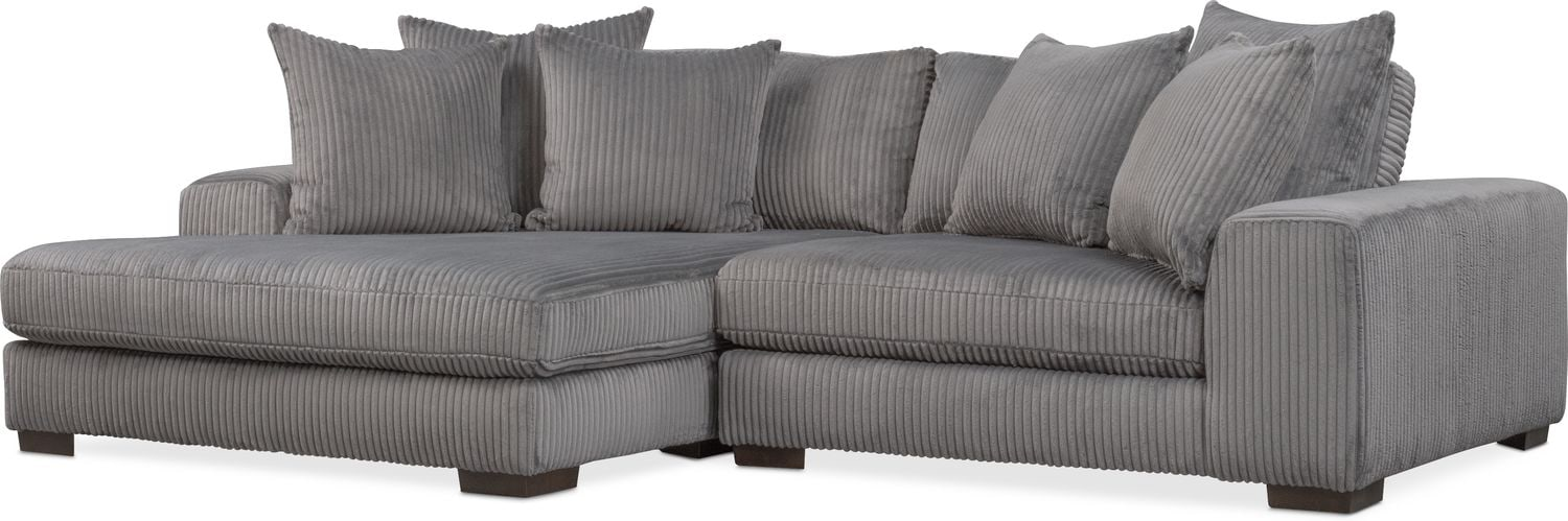 Exceptionnel Lounge 2 Piece Sectional With Left Facing Chaise   Gray