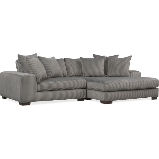 Living Room Furniture - Lounge 2-Piece Sectional with Right-Facing Chaise - Gray
