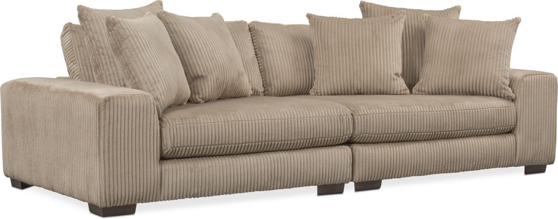 Living Room Furniture   Lounge 2 Piece Sofa   Beige