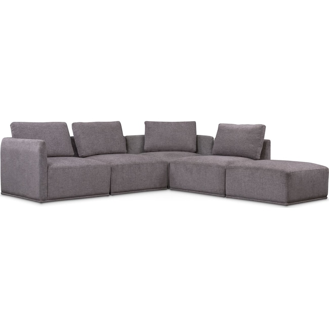 Living Room Furniture - Rio 5-Piece Sectional with 2 Armless Chairs and Ottoman - Gray