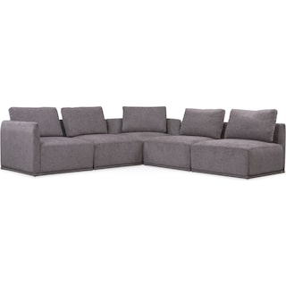 Rio 5-Piece Sectional with 2 Corner Chairs - Gray
