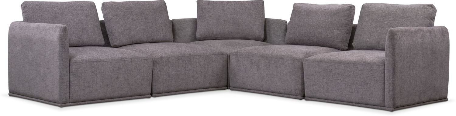 Living Room Furniture - Rio 5-Piece Sectional with 3 Corner Chairs - Gray