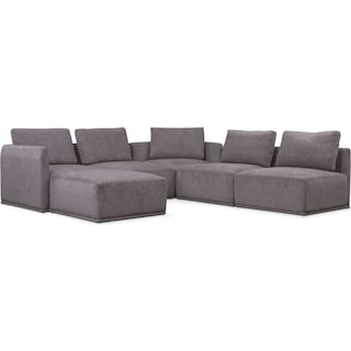 Rio 6-Piece Sectional with 2 Corner Chairs - Gray