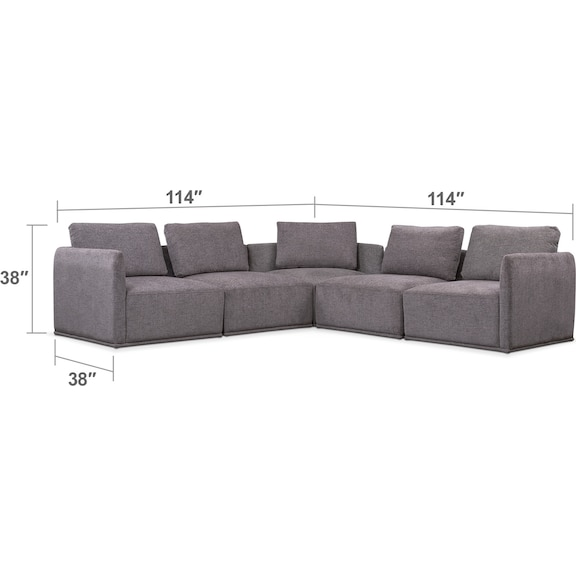 Living Room Furniture - Rio 5-Piece Sectional with 3 Corner Chairs