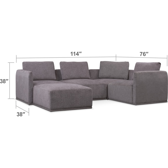 Living Room Furniture - Rio 5-Piece Sectional with 1 Armless Chair and Ottoman - Gray