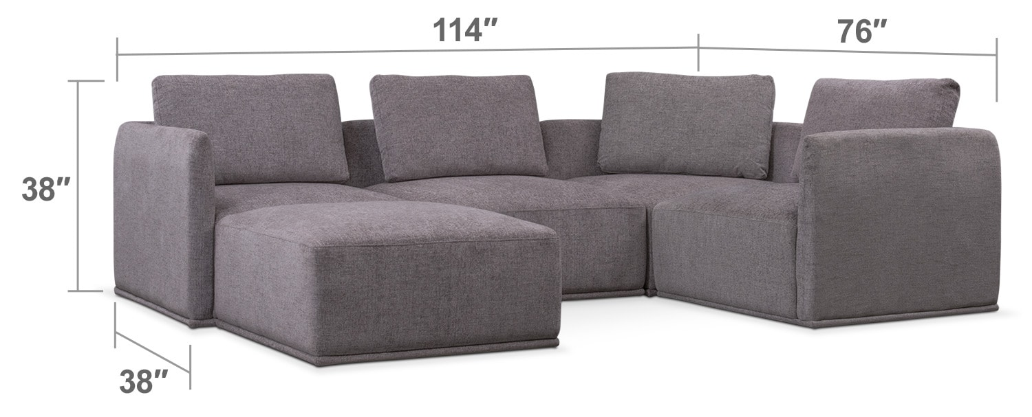 Living Room Furniture   Rio 5 Piece Sectional With 1 Armless Chair And  Ottoman