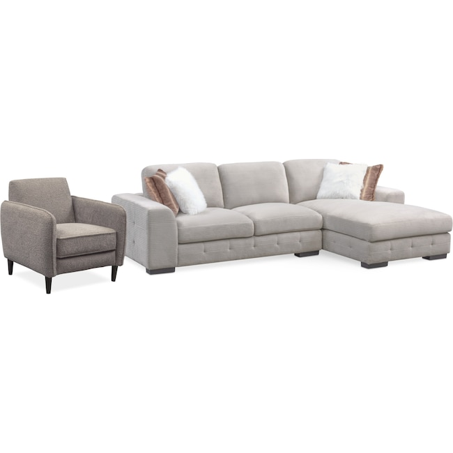 Living Room Furniture - Terry 2-Piece Sectional with Chaise and Accent Chair Set
