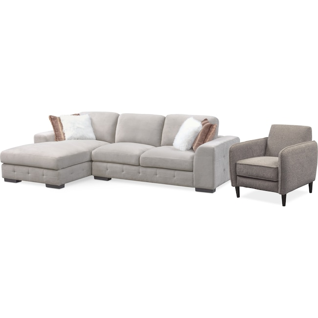 Living Room Furniture - Terry 2-Piece Sectional with Chaise and Accent Chair