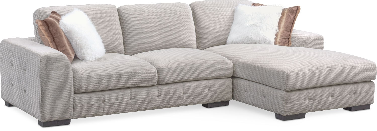 Living Room Furniture - Terry 2-Piece Sectional with Chaise