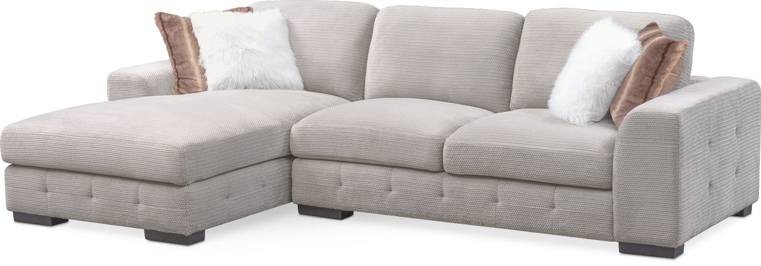 Terry 2 Piece Sectional With Left Facing Chaise   Cement