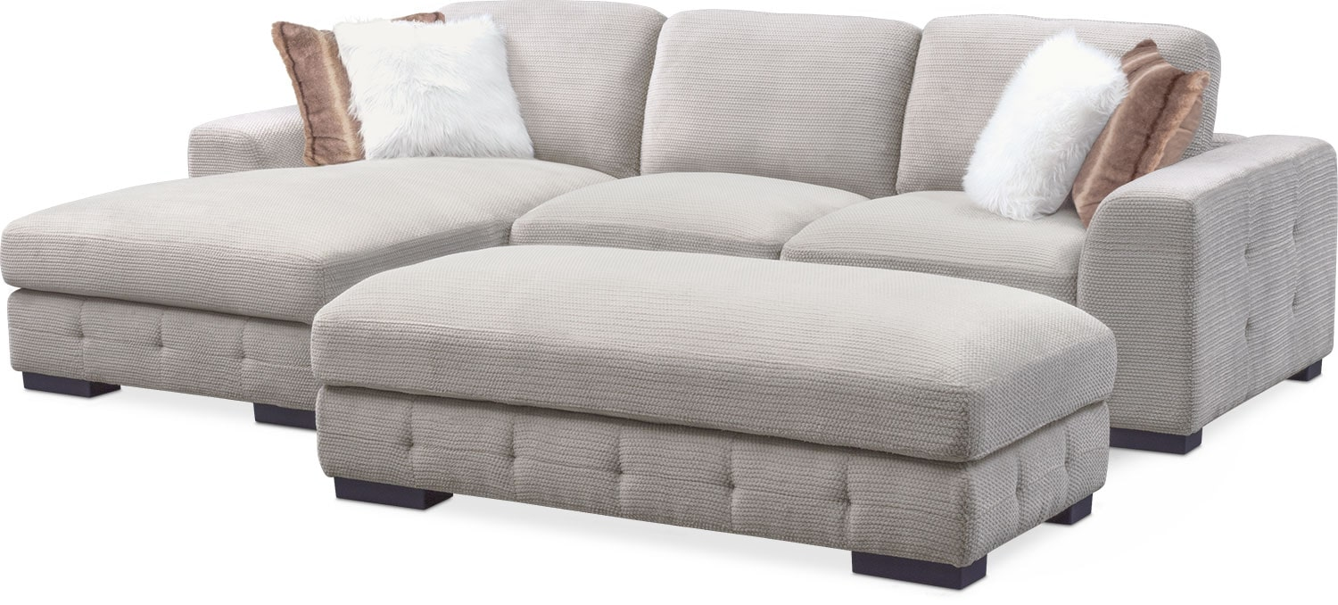 Living Room Furniture   Terry 2 Piece Sectional With Left Facing Chaise And  Cocktail