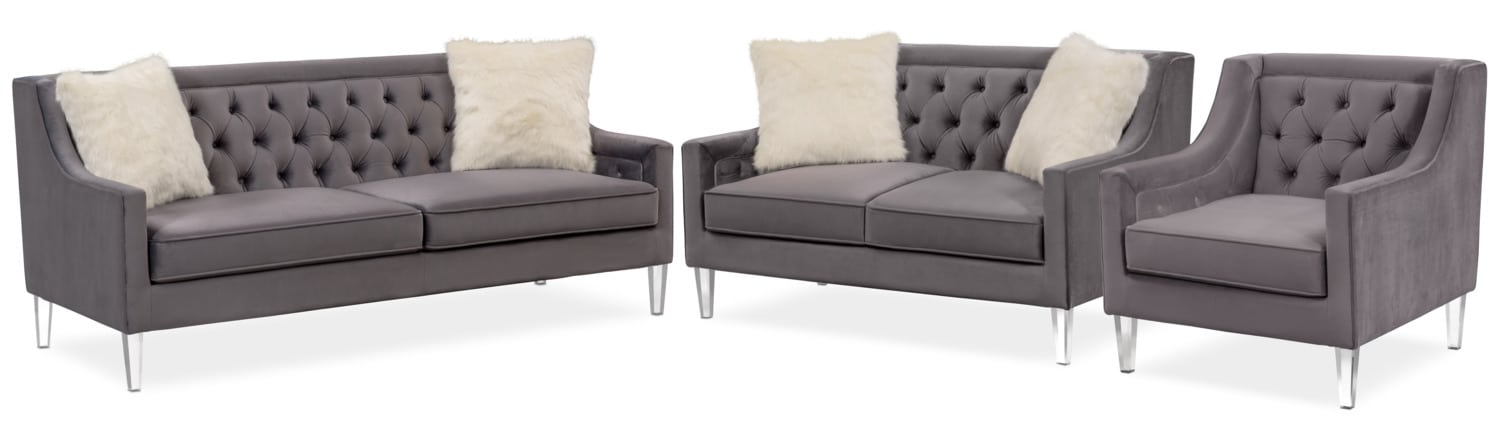 Ordinaire Living Room Furniture   Chloe Sofa, Loveseat And Chair Set   Gunmetal