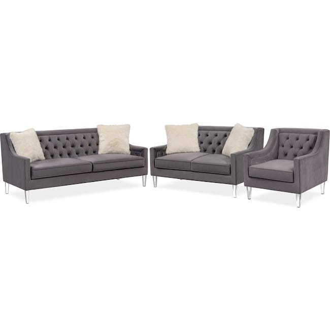 Living Room Furniture Chloe Sofa Loveseat And Chair Set Gunmetal