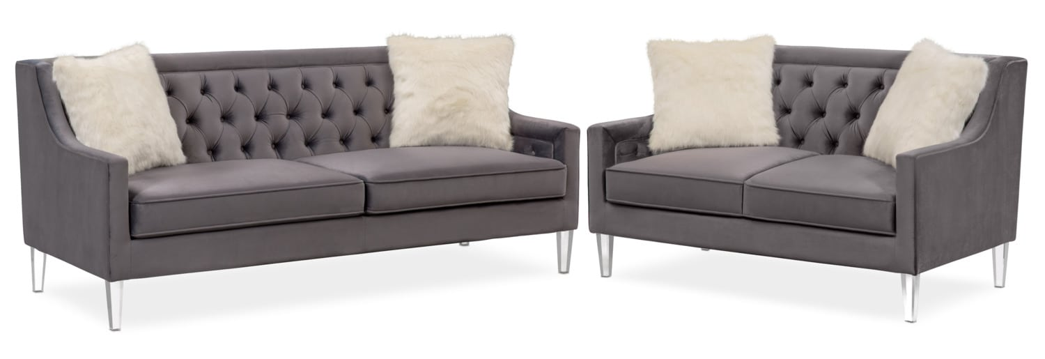 Superieur Chloe Sofa And Loveseat Set   Gunmetal