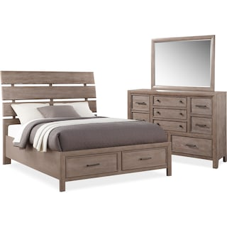 Hampton 5-Piece Queen Storage Bedroom Set - Gray