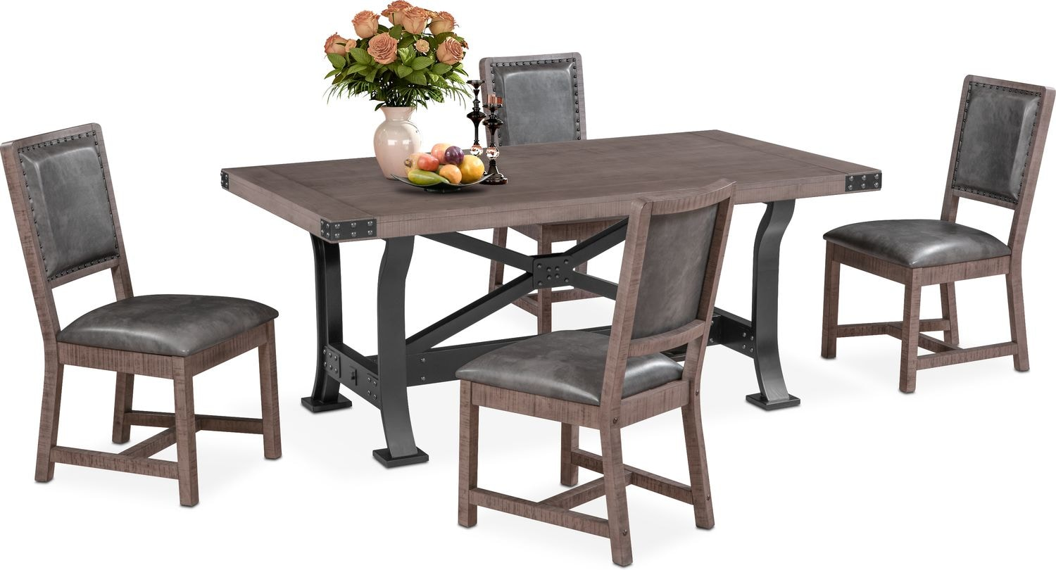 Newcastle dining table and side chairs gray value