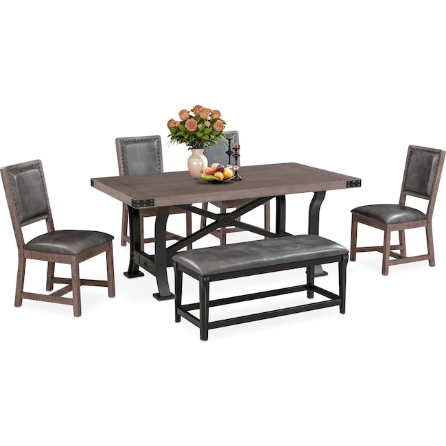 Newcastle Dining Table 4 Side Chairs And Bench