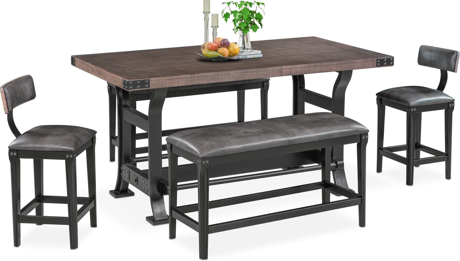 Newcastle Counter Height Dining Table, 2 Stools And 2 Benches   Gray
