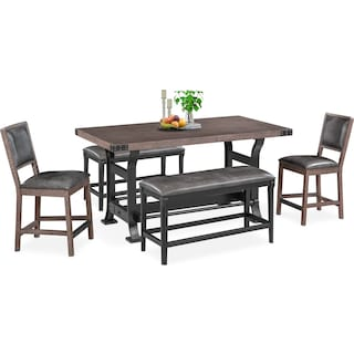 Newcastle Counter-Height Dining Table, 2 Side Chairs and 2 Benches - Gray