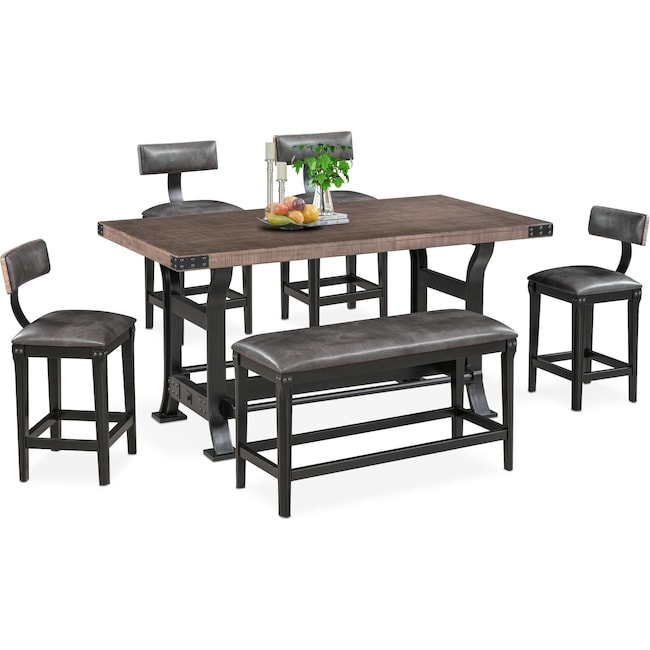 height of dining table bench orchard park dining room furniture newcastle counterheight table stools and bench gray