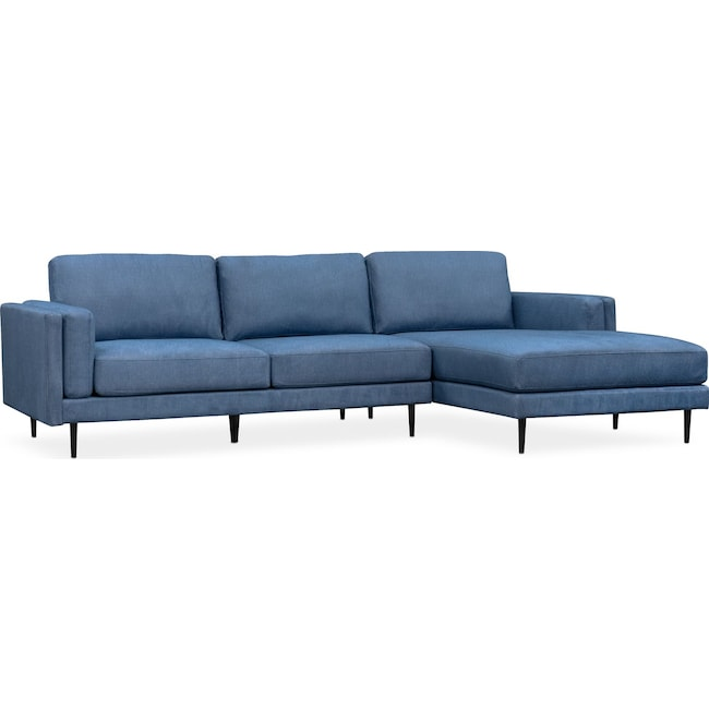 West End 2 Piece Sectional with Right Facing Chaise Blue