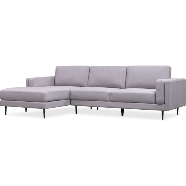 Living Room Furniture - West End 2-Piece Sectional with Left-Facing Chaise - Light Gray