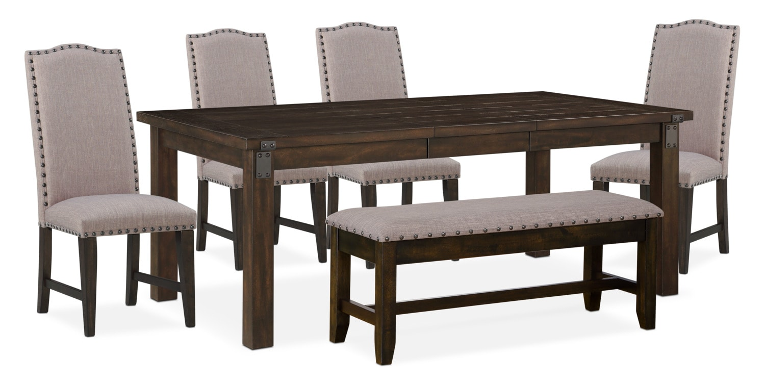 Superbe Dining Room Furniture   Hampton Dining Table, 4 Upholstered Side Chairs And  Storage Bench