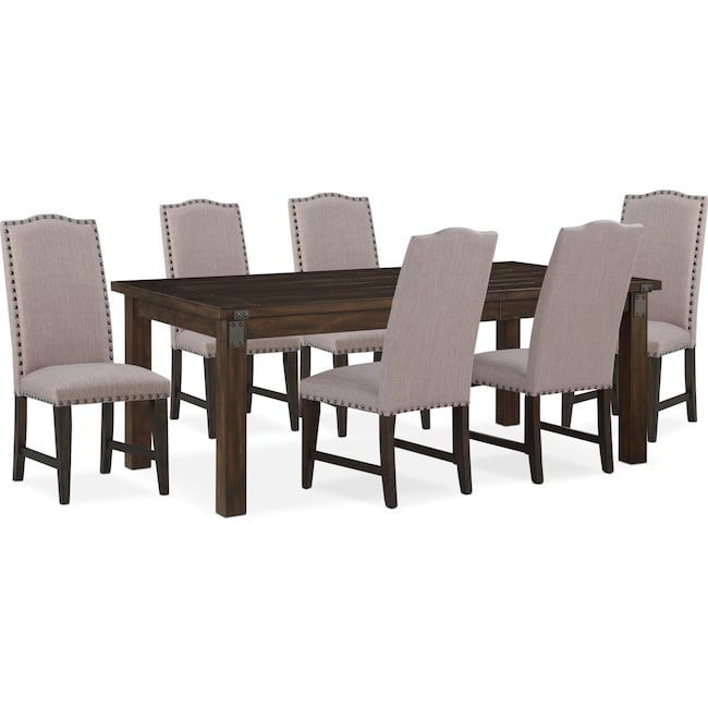 Dining Room Furniture Hampton Table And 6 Upholstered Side Chairs Cocoa