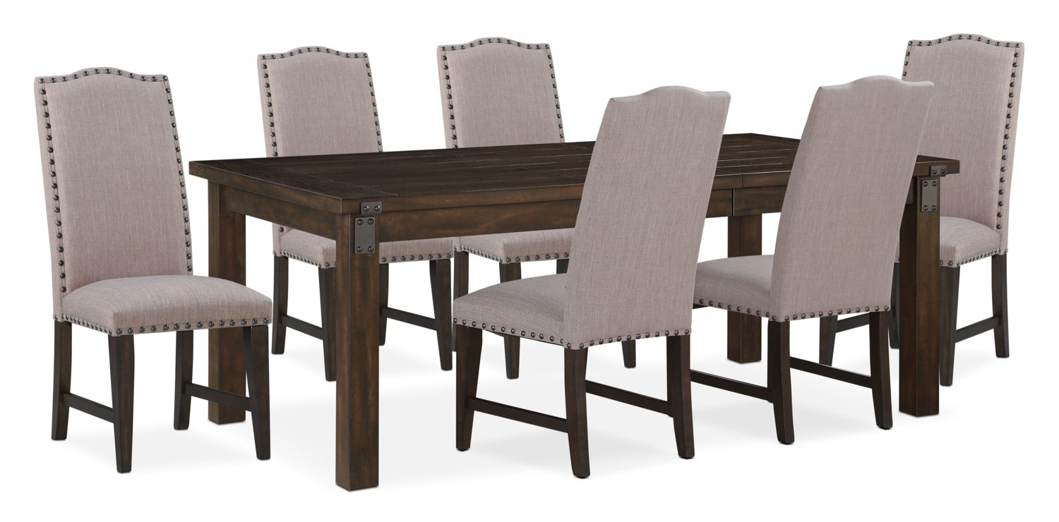Dining Room Furniture   Hampton Dining Table And 6 Upholstered Side Chairs    Cocoa