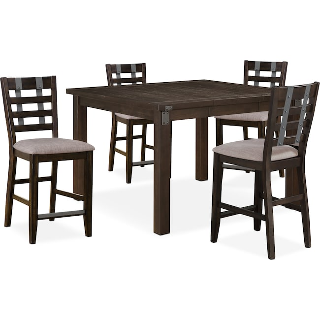 Dining Room Furniture - Hampton Counter-Height Dining Table and 4 Stools - Cocoa