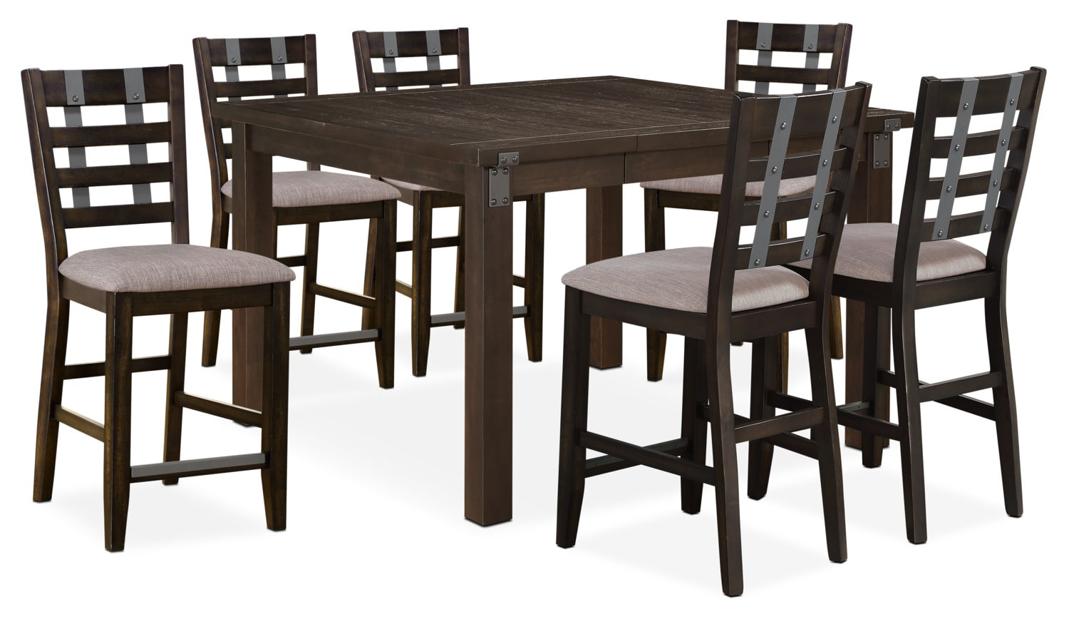 hampton counter height dining table and 6 stools cocoa value city furniture and mattresses. Black Bedroom Furniture Sets. Home Design Ideas