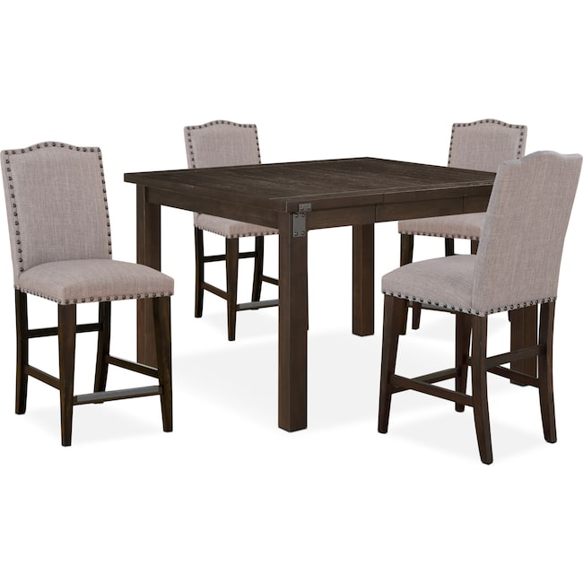 Dining Room Furniture - Hampton Counter-Height Dining Table and 4 Upholstered Stools - Cocoa