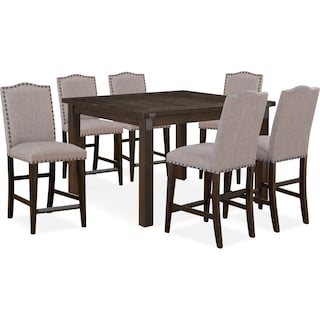 Hampton Counter-Height Dining Table and 6 Upholstered Stools - Cocoa