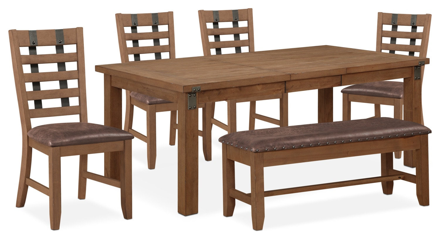 Hampton Dining Table, 4 Side Chairs and Storage Bench - Sandstone ...