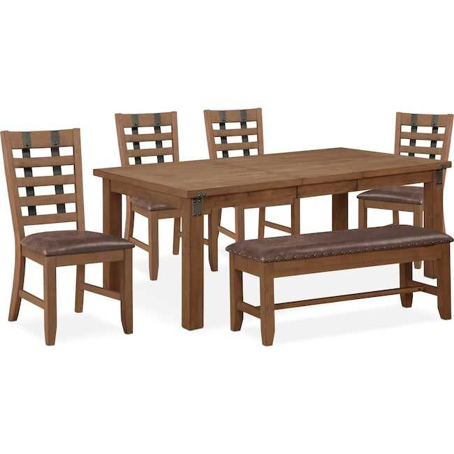 Dining Room Furniture - Hampton Dining Table, 4 Side Chairs and Storage Bench - Sandstone