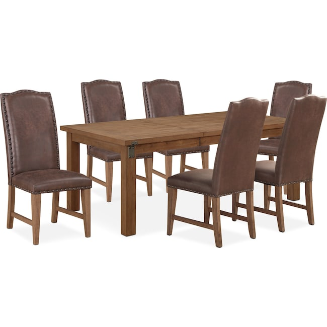 Dining Room Furniture - Hampton Dining Table and 6 Upholstered Side Chairs - Sandstone