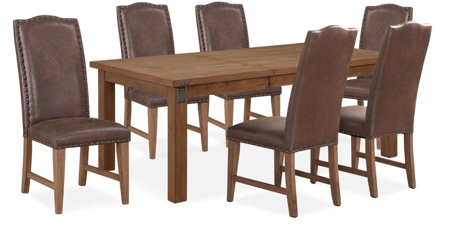 Genial Hampton Dining Table And 6 Upholstered Side Chairs   Sandstone