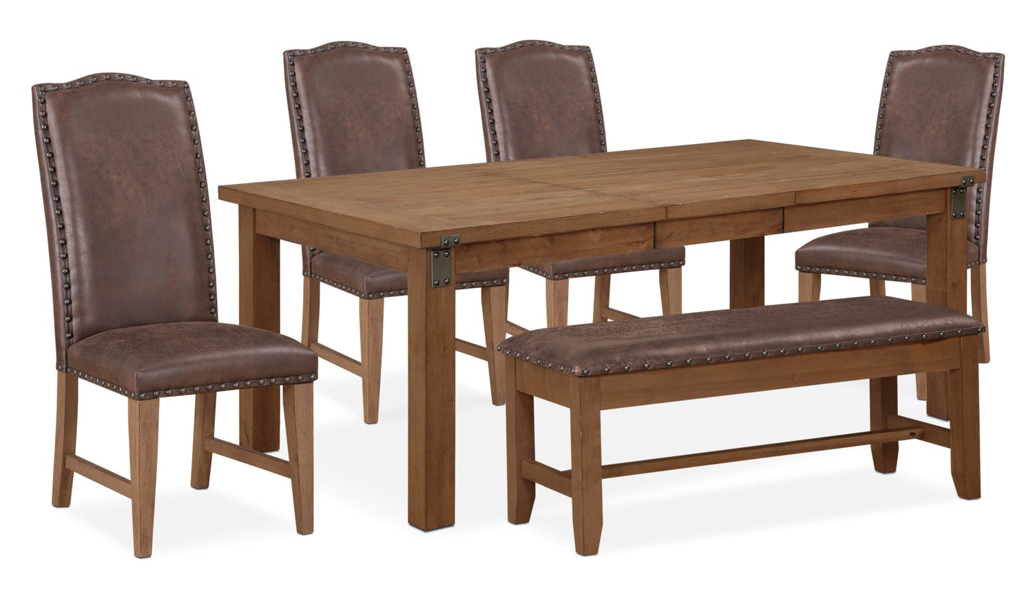 Hampton Dining Table, 4 Upholstered Side Chairs and Storage Bench ...