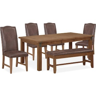 Hampton Dining Table, 4 Upholstered Side Chairs and Storage Bench
