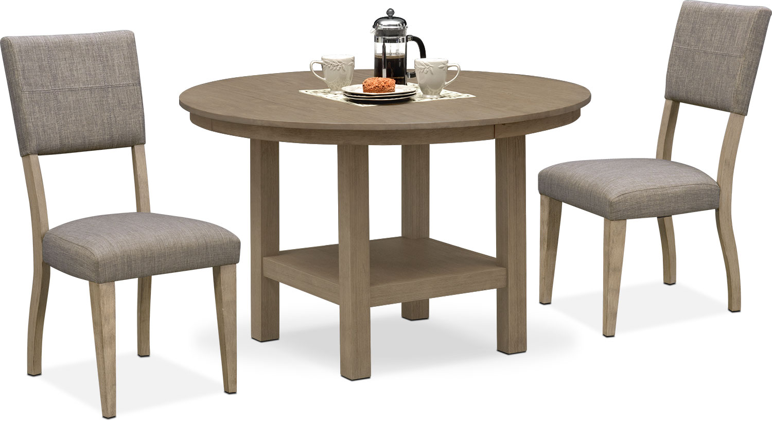 Dining Room Furniture - Tribeca Round Dining Table and 2 Upholstered Side Chairs