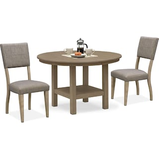 Tribeca Round Dining Table and 2 Upholstered Side Chairs