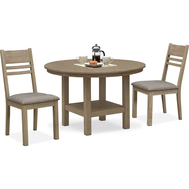 Dining Room Furniture - Tribeca Round Dining Table and 2 Dining Chairs - Gray